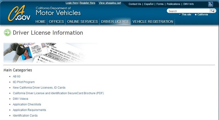 California Driver License Web