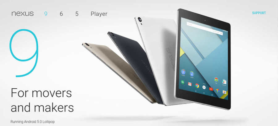 Android Lollipop Nexus 9 Multi-View Image