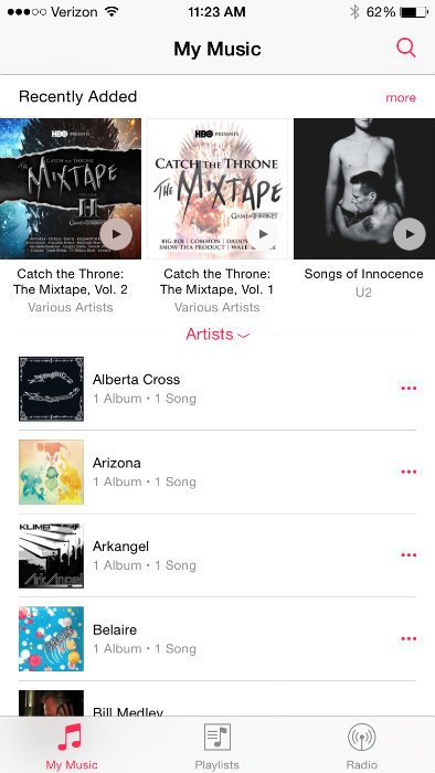 My Music iOS 8.4