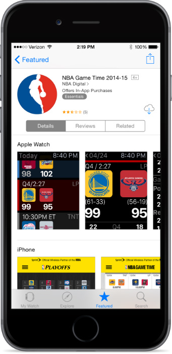 NBA Game Time App Store