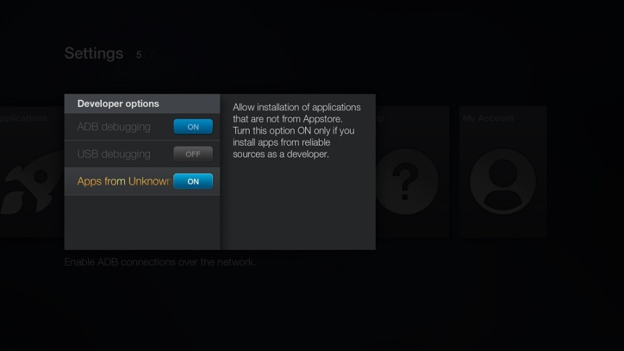 Tablo Amazon Fire TV Developer Options