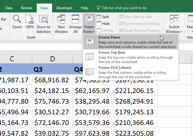 Excel Freeze Panes