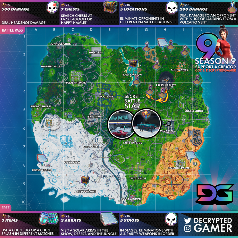 Fortnite Season 9 Week 9 Full Map